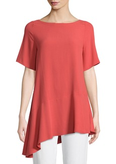 Eileen Fisher Silk Georgette Asymmetric-Hem Top