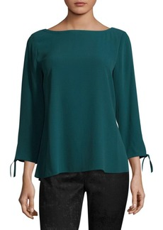Eileen Fisher Silk Georgette Crepe Blouse