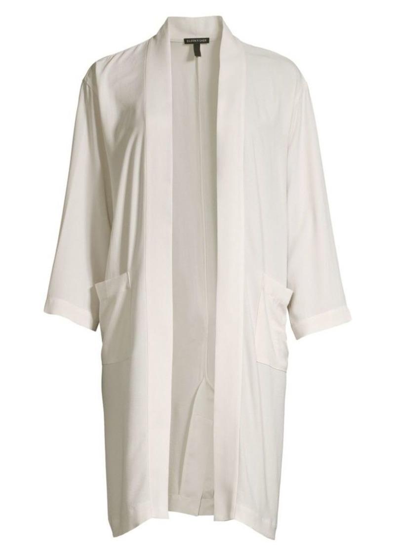 Eileen Fisher Silk Georgette Crepe Kimono Jacket