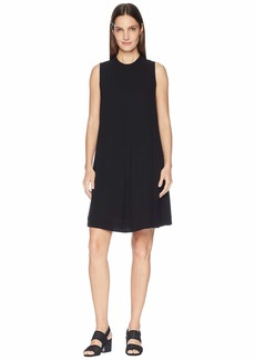 Eileen Fisher Silk Georgette Crepe Mock Neck Short Dress