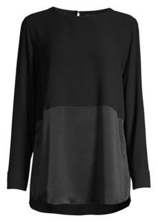 Eileen Fisher Silk Georgette Crepe Two-Tone Silk Top