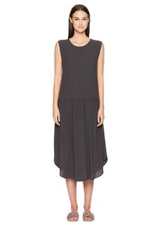 Eileen Fisher Silk Georgette Drop-Waist Dress