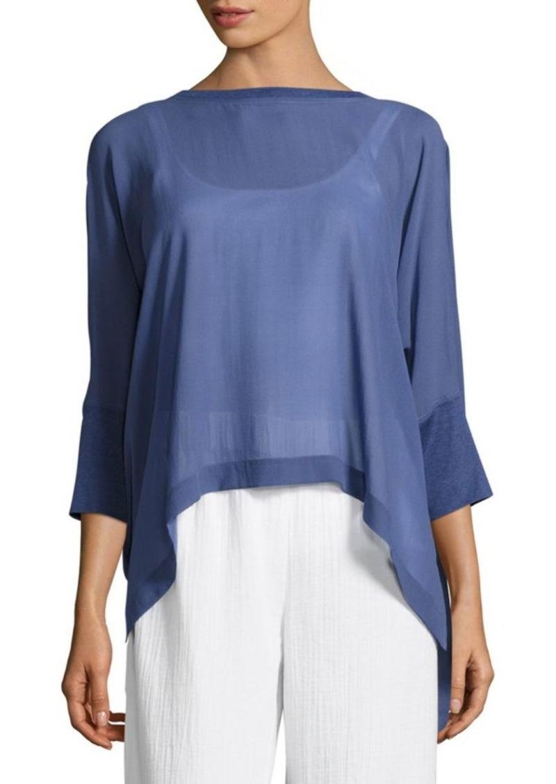 8401128e03 Eileen Fisher Silk Georgette Handkerchief Hem Top