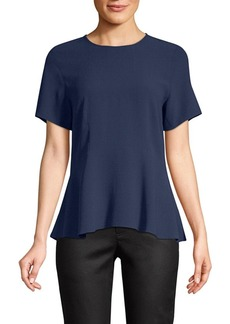 Eileen Fisher Silk Jewel Peplum Top