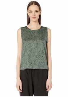 Eileen Fisher Silk Organic Cotton Dash Jewel Neck Shell