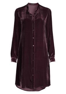 Eileen Fisher Silk Velvet Midi Shirtdress