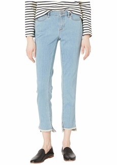 Eileen Fisher Slim Ankle Jeans w/ Raw Edge Slit Detail in Frost