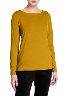 Eileen Fisher Slim Bateau-Neck Long-Sleeve Top