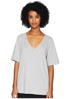 Eileen Fisher Slubby Organic Cotton Jersey Melange V-Neck Short Sleeve Tee Side Slits