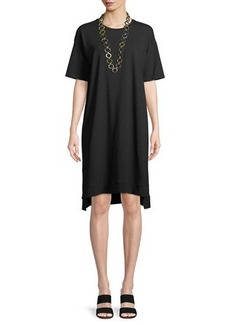 Eileen Fisher Slubby Organic Cotton Jersey Shift Dress
