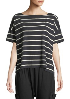 Eileen Fisher Slubby Organic Cotton Striped Box Top