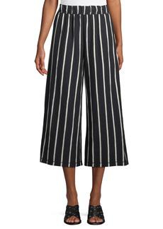 Eileen Fisher Slubby Striped Wide-Leg Capri Pants  Petite