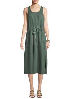 Eileen Fisher Soft Organic Cotton Twill Racerback Midi Dress