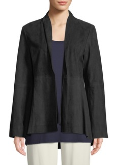 Eileen Fisher Soft Suede High-Collar Jacket