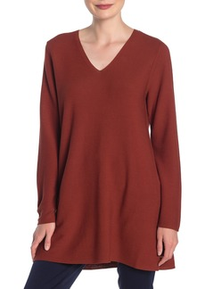 Eileen Fisher Solid V-Neck Tunic Sweater
