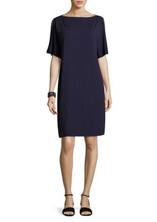 Eileen Fisher Split-Sleeve Jersey Shift Dress