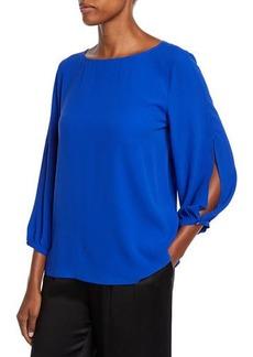 Eileen Fisher Split-Sleeve Silk Crepe Blouse
