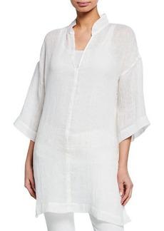 Eileen Fisher Stand-Collar 3/4-Sleeve Organic Linen Gauze Tunic