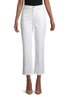Eileen Fisher Straight Ankle-Crop Stretch-Organic Cotton Jeans