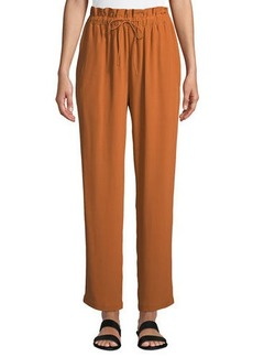 Eileen Fisher Straight-Leg Crepe Ankle Pants w/ Drawstring Waist