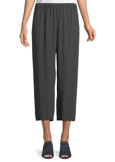 Eileen Fisher Straight-Leg Silk Crepe Pants w/ Side Piping