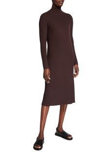 Eileen Fisher Straight Scrunch-Neck Long Sleeve Ribbed Dress