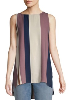 Eileen Fisher Stripe Bateau Neck Silk Top