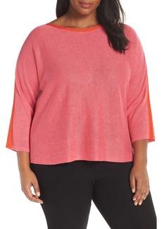 Eileen Fisher Stripe Detail Linen Sweater (Plus Size)