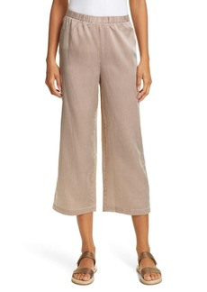 Eileen Fisher Stripe Straight Wide Leg Silk & Cotton Crop Pants (Petite)
