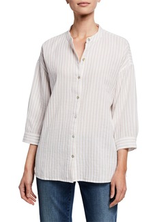 Eileen Fisher Striped Button-Front 3/4-Sleeve Cotton Gauze Shirt