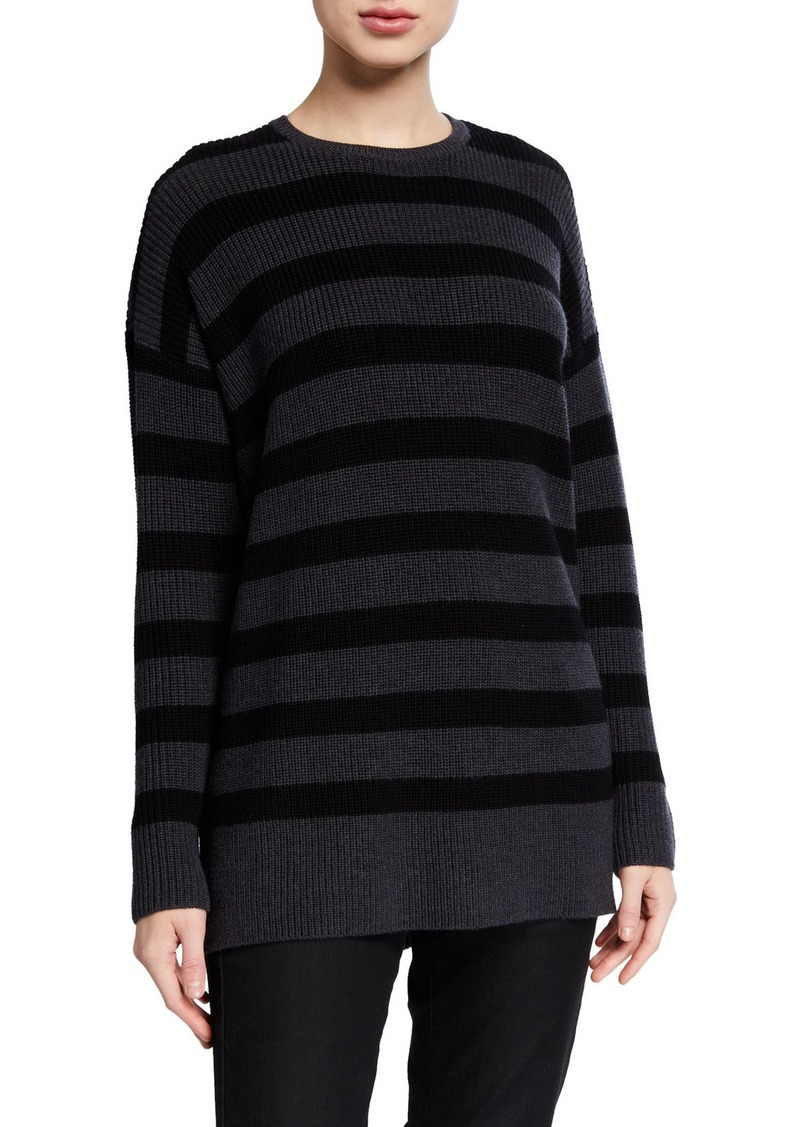Eileen Fisher Striped Crewneck Merino Wool Tunic Sweater