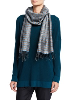 Eileen Fisher Striped Handloom Silk Slub Wool Scarf