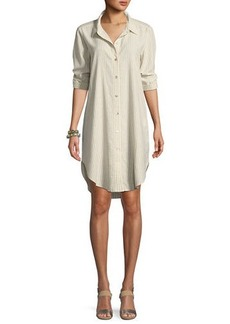 Eileen Fisher Striped Hemp-Blend Shirtdress