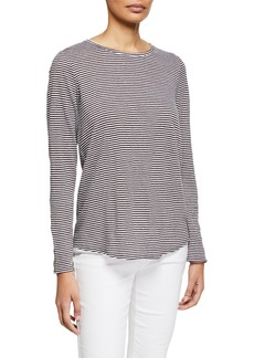 Eileen Fisher Striped Long-Sleeve Jersey Linen Shirttail-Hem Tee