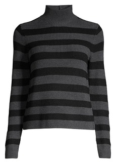 Eileen Fisher Striped Mockneck Wool Sweater