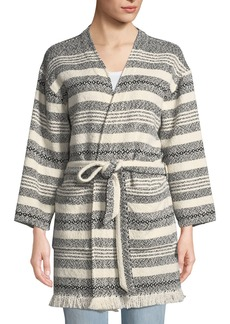 Eileen Fisher Striped Organic Cotton Bracelet-Sleeve Jacket w/ Belt