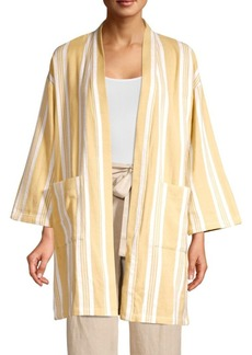 Eileen Fisher Striped Organic Cotton Kimono Jacket