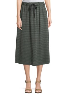 Eileen Fisher Striped Organic Linen Jersey Midi Skirt