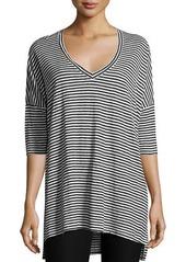 Eileen Fisher Striped Organic Linen Jersey V-Neck Tunic