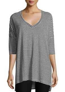 Eileen Fisher Plus Size Striped Organic Linen Jersey V-Neck Tunic