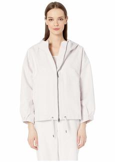 Eileen Fisher Sueded Organic Cotton Hemp Canvas Hooded Jacket
