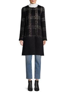 Eileen Fisher Tartan Wool & Cotton-Blend Coat
