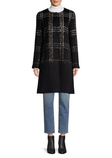 Eileen Fisher Tartan Wool & Cotton-Blend Coat