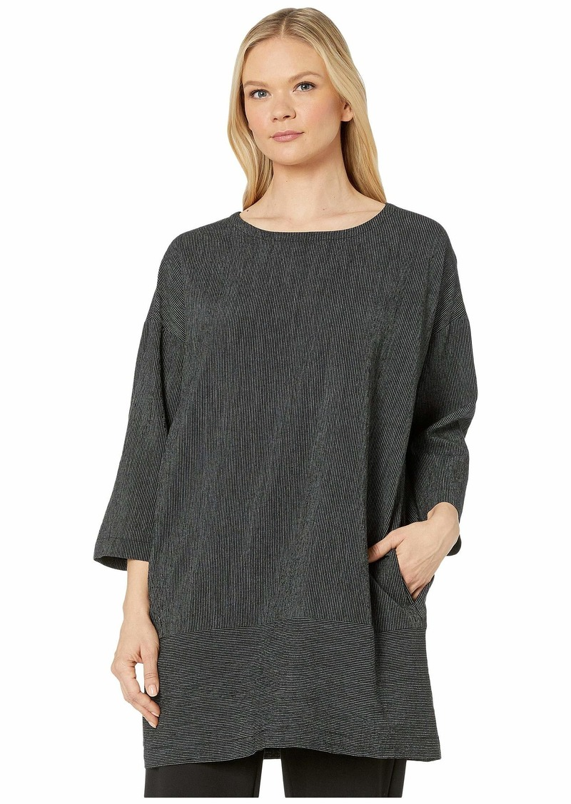 Eileen Fisher Tencel & Organic Cotton Crinkle Bateau Neck 3/4 Sleeve Dress