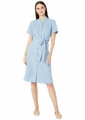Eileen Fisher Tencel Linen Classic Collar Short Sleeve Dress w/ Belt
