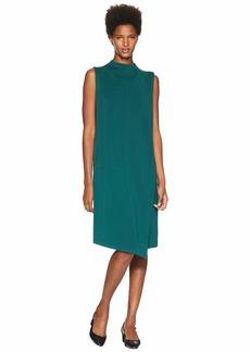 Eileen Fisher Tencel Ponte Mock Neck Wrap Dress