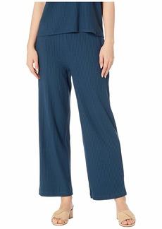 Eileen Fisher Tencel Stretch Rib Ankle Wide Leg Pants