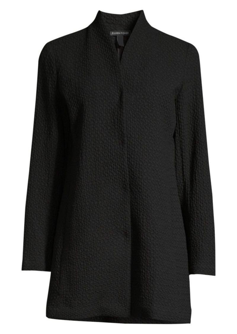 Eileen Fisher Textured High-Collar Jacket