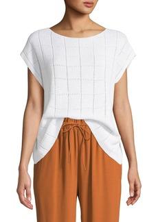 Eileen Fisher Textured Organic Linen Cap-Sleeve Sweater