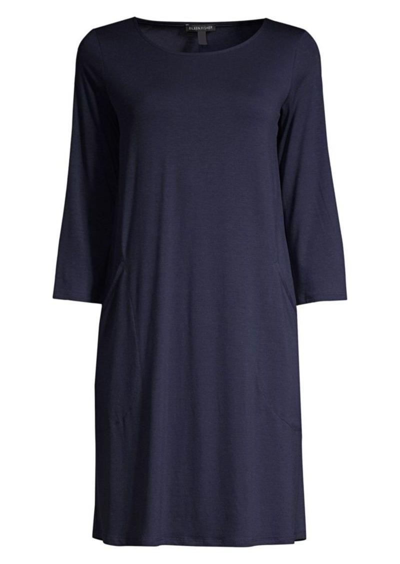 Eileen Fisher Three-Quarter Sleeve Shift Dress